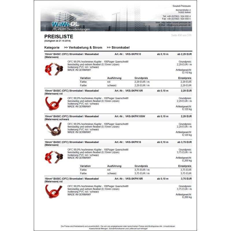 JTL Wawi Druckvorlage Preisliste (Design 01), WaWi-DL, 35,00 €