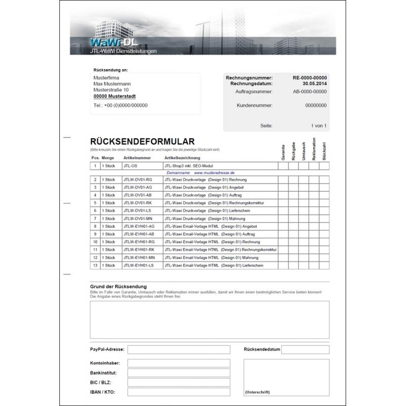 JTL Wawi Druckvorlage (RMA/Rücksendeformular), WaWi-DL, 12,50 €