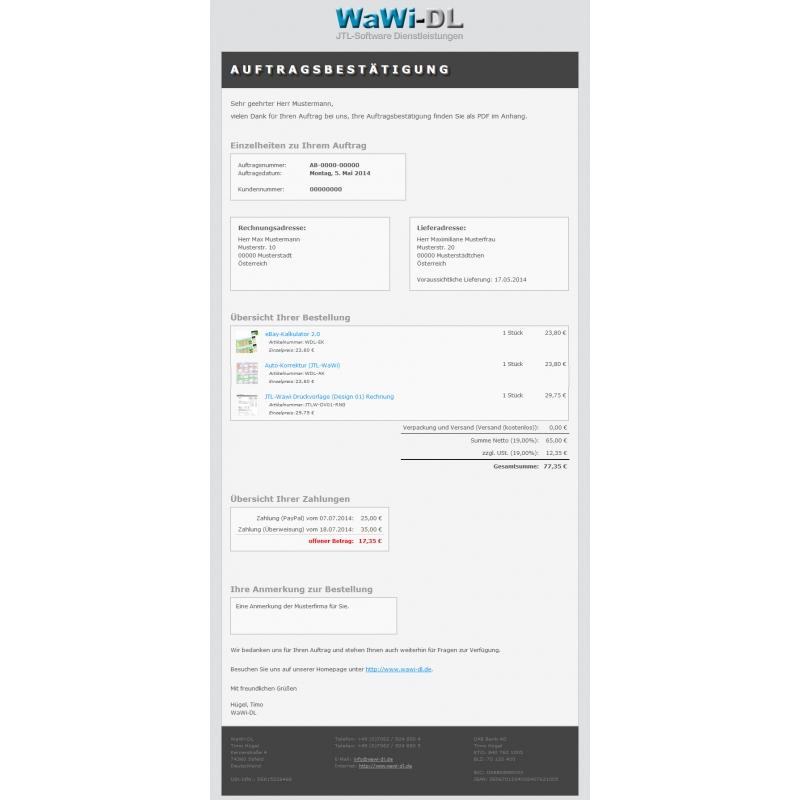 Jtl Wawi Email Vorlagen Set Html Design 01 Wawi Dl 2850