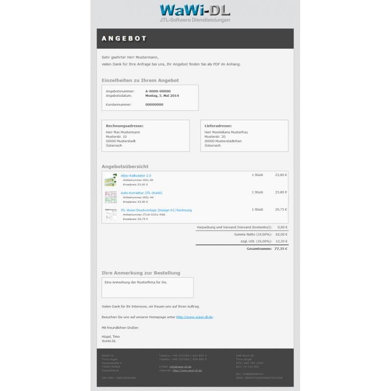 Jtl Wawi Email Vorlagen Html Design 01 Wawi Dl 1000