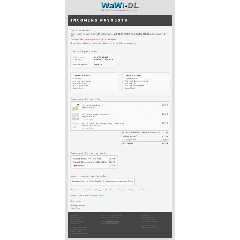 Jtl Wawi Email Vorlage Html Englisch Design 01